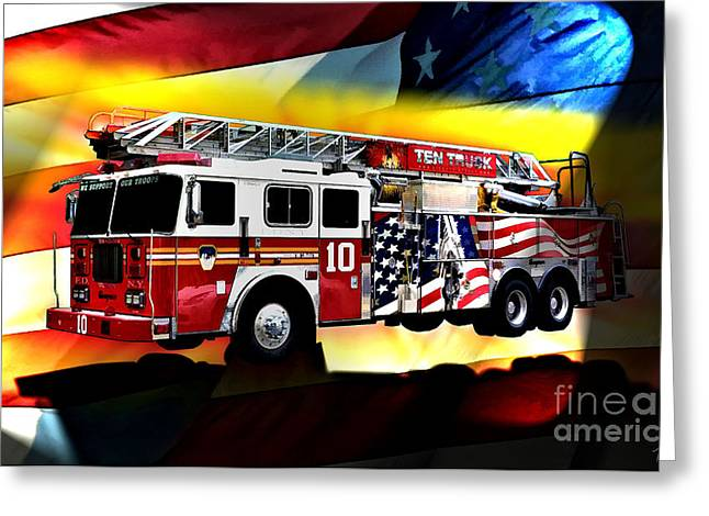 Fireman Posters Greeting Cards - Ten Truck FDNY Greeting Card by Tommy Anderson