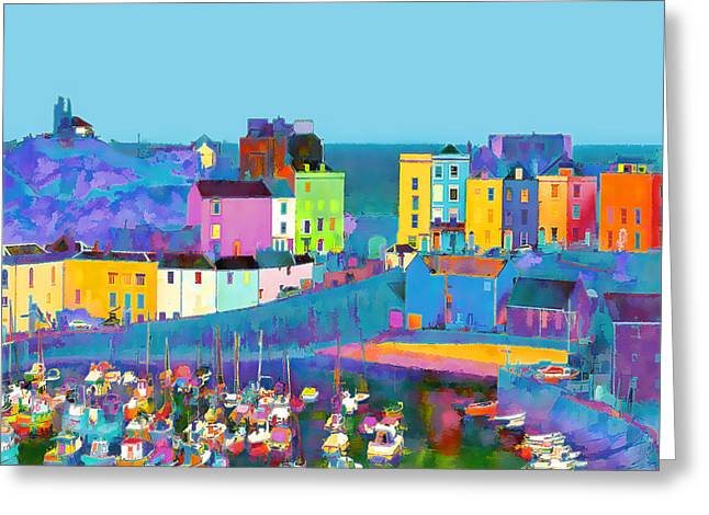 Digital Greeting Cards Greeting Cards - Tenby Harbour  I Greeting Card by Gareth Davies