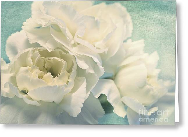 White Blue Greeting Cards - Tenderly Greeting Card by Priska Wettstein