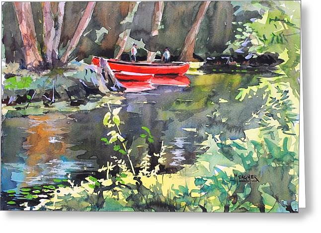 Canoe Paintings Greeting Cards - Tending The Canoes Greeting Card by Spencer Meagher