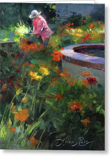 Tending The Dahlias Greeting Card by Anna Rose Bain