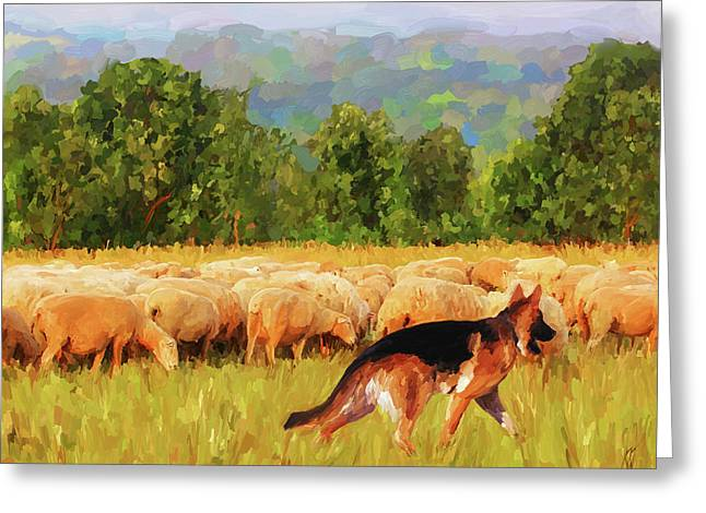 Tend Greeting Cards - Tending the Flock Greeting Card by Jai Johnson