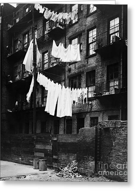 Tenement With Laundry Hanging To Dry Greeting Card by H. Armstrong Roberts/ClassicStock