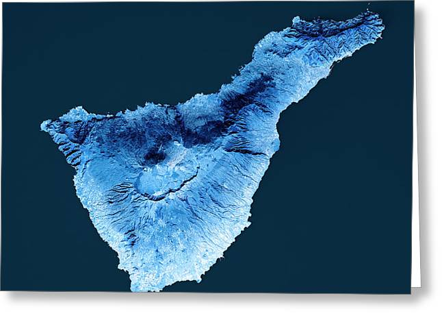 Tenerife Island Topographic Map Blue Color Top View Greeting Card by Frank Ramspott