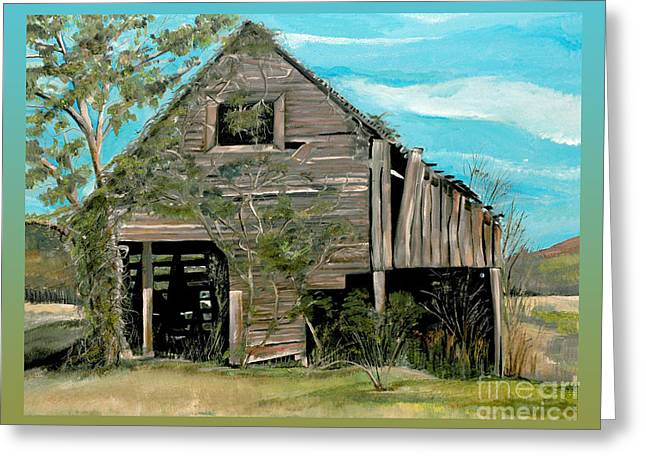 Tennessee Barn Paintings Greeting Cards - Tennessee -Mooresburg - Gradient Border Greeting Card by Jan Dappen