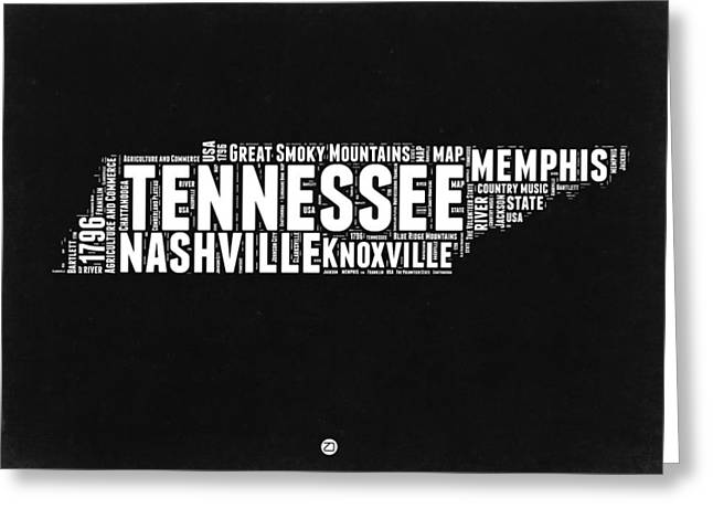 Tennessee Black And White Word Cloud  Map Greeting Card by Naxart Studio