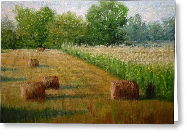 Tennessee Hay Bales Greeting Cards - Tennessee Hay and Corn Fields Greeting Card by Paula Ann Ford