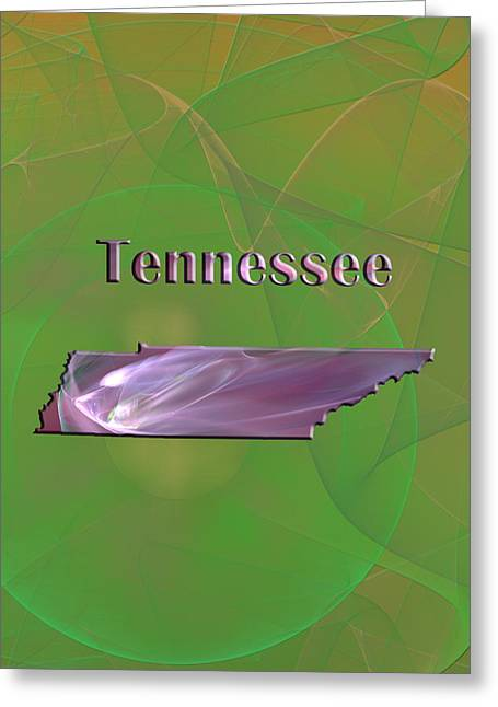 Abstract Digital Digital Greeting Cards - Tennessee Map Greeting Card by Roger Wedegis