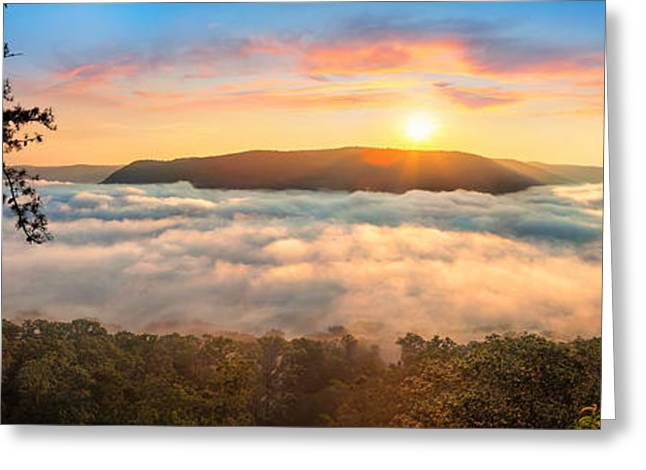 Tennessee River Greeting Cards - Tennessee River Gorge Morning Fog Greeting Card by Steven Llorca