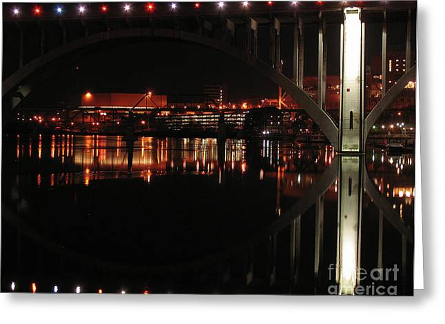Tennessee River Greeting Cards - Tennessee River in Lights Greeting Card by Douglas Stucky