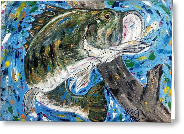 Tennessee River Paintings Greeting Cards - Tennessee River Largemouth Bass Greeting Card by Jessica  Barrier