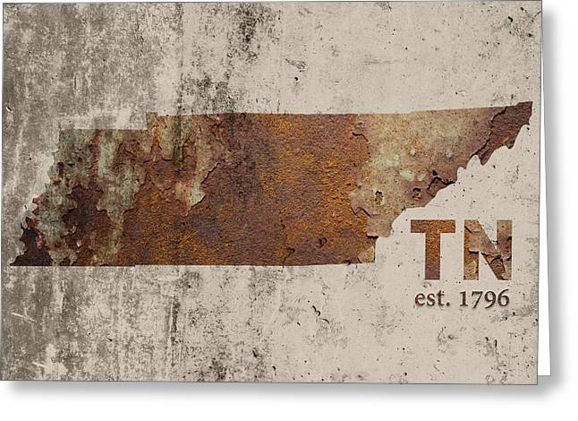 Tennessee State Map Industrial Rusted Metal On Cement Wall With Founding Date Series 030 Greeting Card by Design Turnpike