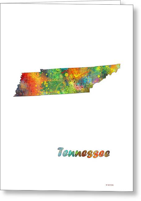 Tennessee State Map Greeting Card by Marlene Watson