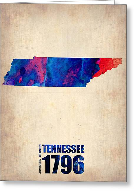 Maps. State Map Greeting Cards - Tennessee Watercolor Map Greeting Card by Naxart Studio