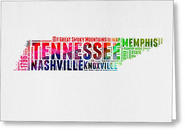 Tennessee Watercolor Word Cloud Map  Greeting Card by Naxart Studio