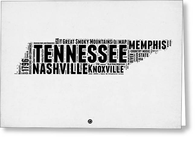Tennessee Word Cloud Map 2 Greeting Card by Naxart Studio