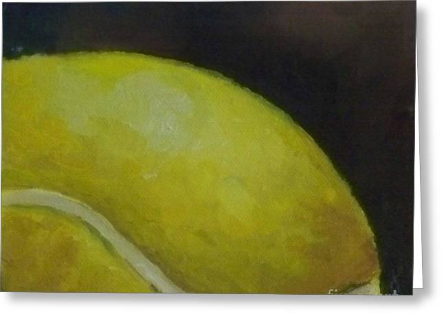 Racquet Paintings Greeting Cards - Tennis Ball No. 2 Greeting Card by Kristine Kainer