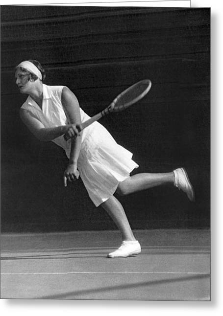 Tennis Champion Greeting Cards - Tennis Champion Kitty Godfree Greeting Card by Underwood Archives