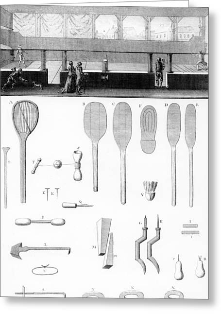 Tennis Court And Rackets Greeting Card by French School