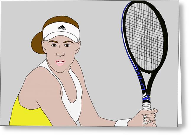 Tennis Player Drawings Greeting Cards - Tennis Player Greeting Card by Priscilla Wolfe