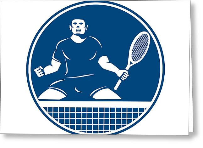 Fist Pump Greeting Cards - Tennis Player Racquet Fist Pump Icon Greeting Card by Aloysius Patrimonio