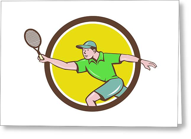 Tennis Player Racquet Forehand Circle Cartoon Greeting Card by Aloysius Patrimonio