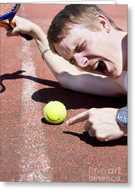 Hardcourt Greeting Cards - Tennis Player Tantrum Greeting Card by Ryan Jorgensen