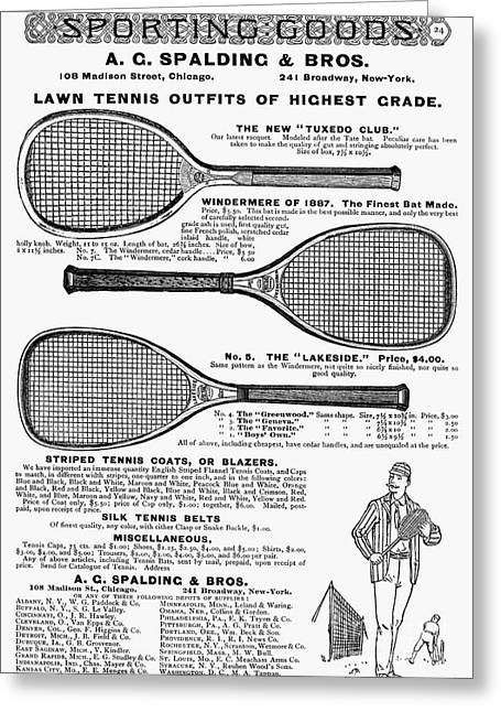 Sporting Equipment Greeting Cards - Tennis Rackets, 1887 Greeting Card by Granger