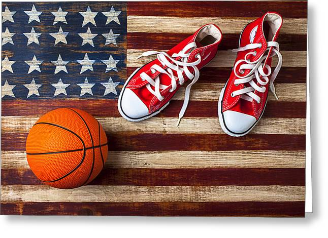 Plaything Greeting Cards - Tennis shoes and basketball on flag Greeting Card by Garry Gay