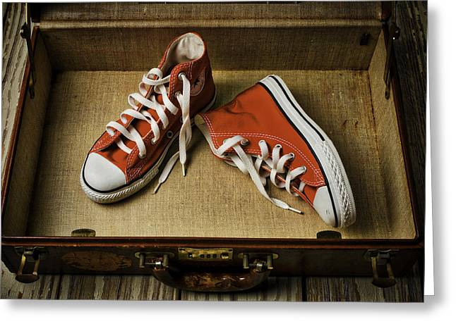 Red Shoe Greeting Cards - Tennis shoes In Suitcase Greeting Card by Garry Gay