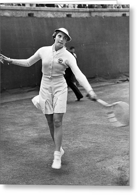 Tennis Club Greeting Cards - Tennis Star Katherine Stammers Greeting Card by Underwood Archives