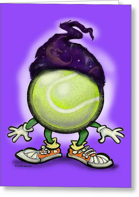 Tennis Wiz Greeting Card by Kevin Middleton
