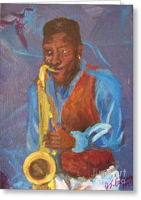 Saxophon Player Greeting Cards - Tenor Player Greeting Card by Jamey Balester