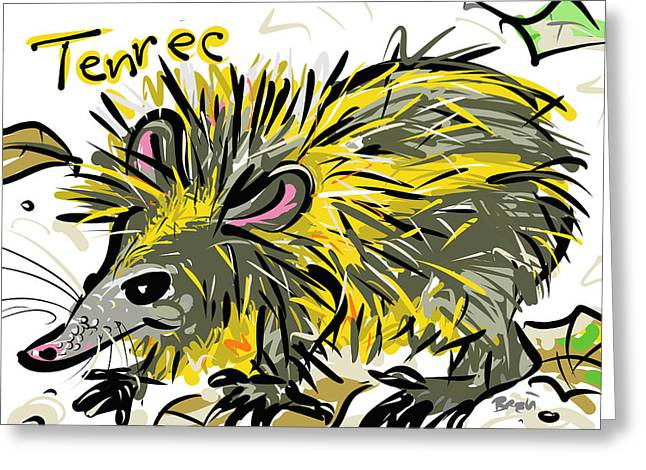 Forest Floor Drawings Greeting Cards - Tenrec Greeting Card by Brett LaGue
