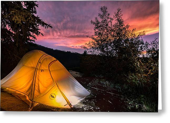 Creek Greeting Cards - Tent at Sunset Greeting Card by Michael J Bauer