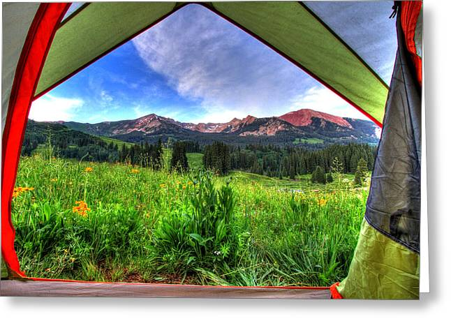 Fort Collins Photographs Greeting Cards - Tent View Greeting Card by Scott Mahon