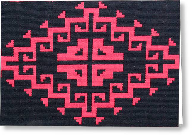 Southwest Tapestries - Textiles Greeting Cards - Teotehuacan Black rug Greeting Card by Judy Hilbish