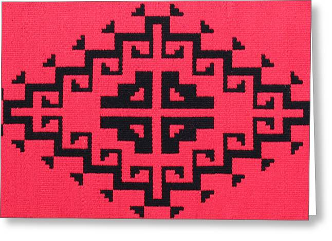 Southwest Tapestries - Textiles Greeting Cards - Teotehuacan Red rug Greeting Card by Judy Hilbish