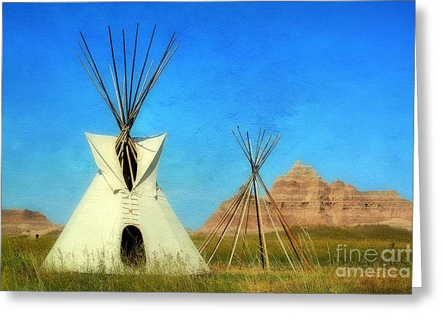 Lakota Greeting Cards - Tepee in Badlands Greeting Card by Teresa Zieba