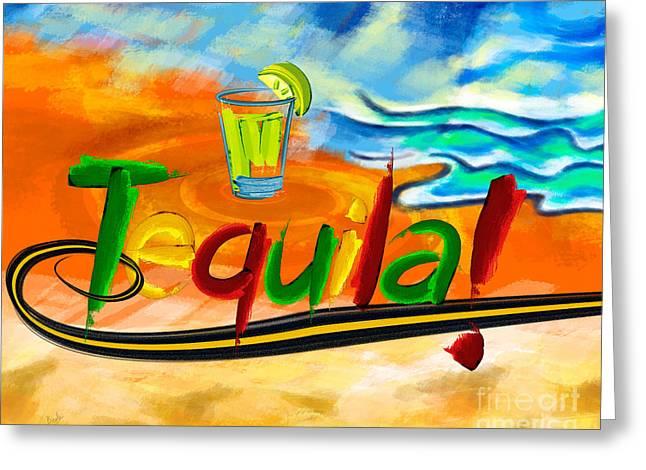 Lemon Art Greeting Cards - Tequila Greeting Card by Bedros Awak