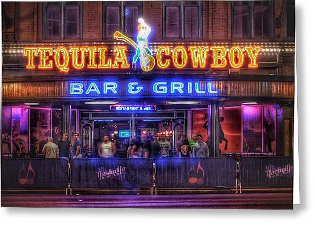 Nashville Tennessee Greeting Cards - Tequila Cowboy Greeting Card by Lisa OConnor