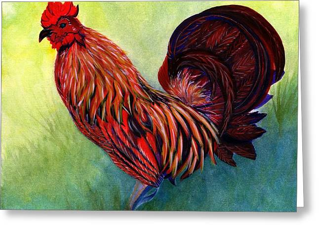 Tequila - Fancy Rooster Greeting Card by Janine Riley