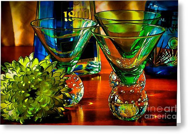 Glass Table Reflection Greeting Cards - Tequila Ready Greeting Card by Pamela Blizzard
