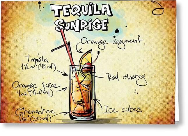 Bartender Drawings Greeting Cards - Tequila Sunrise Recipe Greeting Card by Alexas Fotos