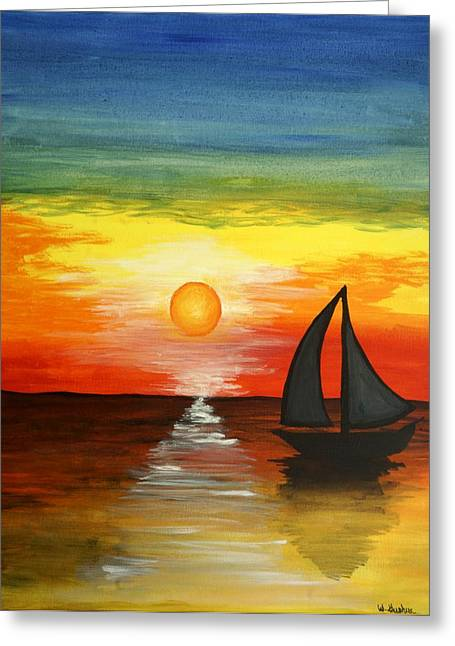 Yellow Sailboats Greeting Cards - Tequila Sunset Greeting Card by WIlliam Gushue