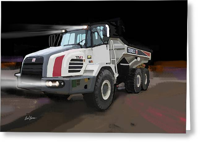 Happy Man Greeting Cards - Terex TA27 articulated dump truck Greeting Card by Brad Burns