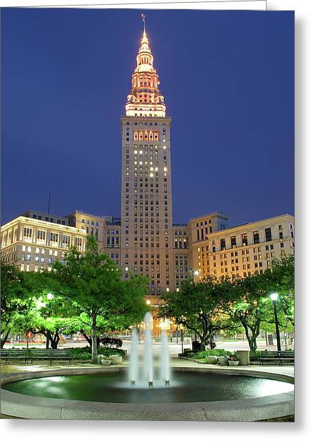 Terminal Tower Greeting Card by Frozen in Time Fine Art Photography