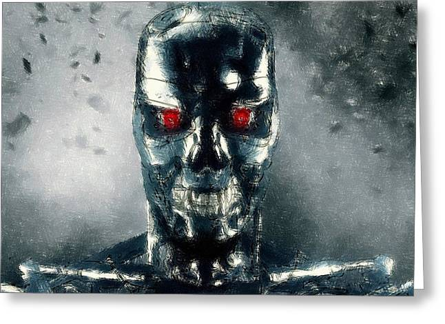 Movie Pastels Greeting Cards - Terminator Oil Pastel Sketch Greeting Card by Movie Poster Prints