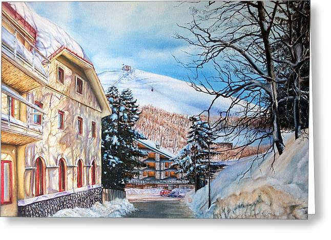 Ski Art Greeting Cards - Terminillo Greeting Card by Michel Angelo Rossi