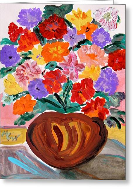 Print On Acrylic Drawings Greeting Cards - Terra Cotta and Mixed Bouquet Greeting Card by Mary Carol Williams